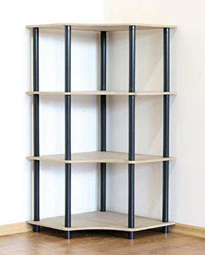 DEDAL-4W - Estantería de Esquina (4 estantes), Color Negro
