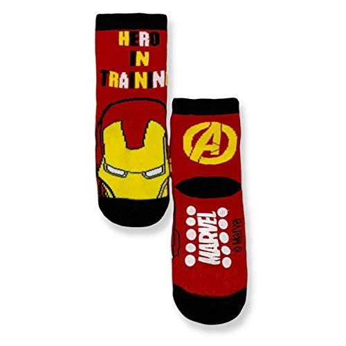Marvel Calcetines antideslizantes Avengers Hulk Capitán América Iron Man de algodón 3306 rojo 31W x 34L