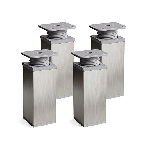 Design-Möbelfüße, 4er Set, höhenverstellbar | Vierkant-Profil: 40 x 40 mm | Sossai® MFV1-X2 | Farbe: Inox/Grau | Höhe: 120mm (+20mm) | Material: Aluminium/Kunststoff | Holzschrauben inklusive