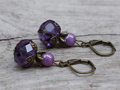 NEU!!! Vintage Ohrringe mit böhmischen Glasperlen - lila, aubergine & bronze