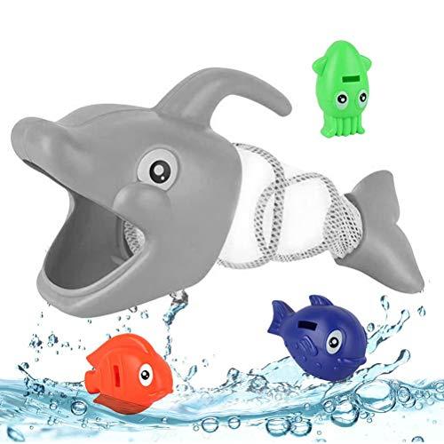 clifcragrocL Große Fische fressen die kleinen Kinder Cartoon Dolphin Fish Hunt Toy Pool-Spiel Baby-Bad-Hand Angeln Spielzeug Geschenk