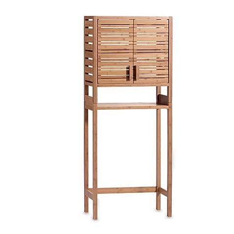 Two-door Open Shelf Bamboo Cabinet Bathroom Space Saver in Warm Natural Finish