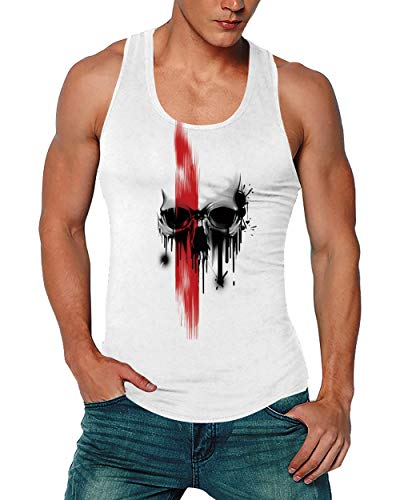 Goodstoworld Gym Shirts Athletic 3D Tank Tops Y-Back Muscle Junior Sleeveless Shirt Workout Training Tanks Cool Tees for Men,Skull