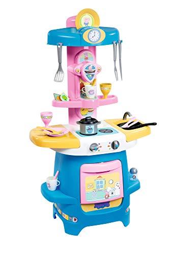 Smoby 310714 – Peppa pig Cooky kök – stort barnkök med massor av porslin och tillbehör, med spis, ugn, diskho, kaffebryggare, för barn från 18 månader, rosa