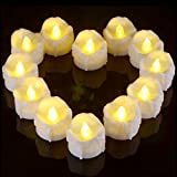 Ymenow Tea Lights with 6 Hours Timer, 12pcs Battery Candles LED Flameless Flickering Tealights Votive Candle for Home Wedding Birthday Holiday Thanksgiving Christmas New Year Party Decor - Warm White