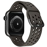 MroTech Correa Compatible para iWatch 44mm 42mm Watch Band Correas de Reloj Silicona Suave Banda Deporte de Reemplazo Pulseras de Repuesto para iWatch Series 6/SE 5 4 3 2 1 42/44 mm Café