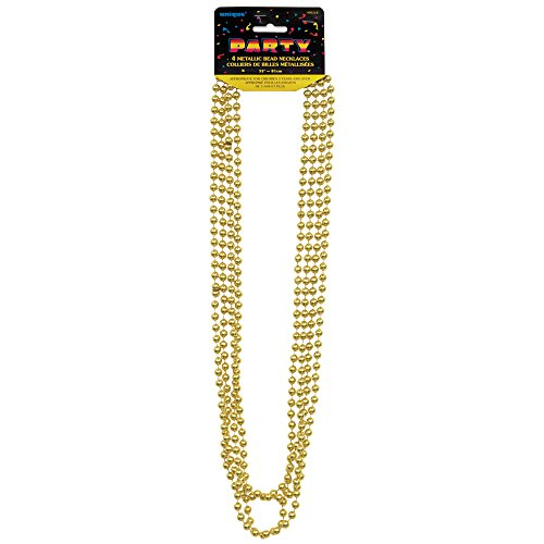 Unique Party 95119 - Metallic Gold Bead Necklaces, Pack of 4