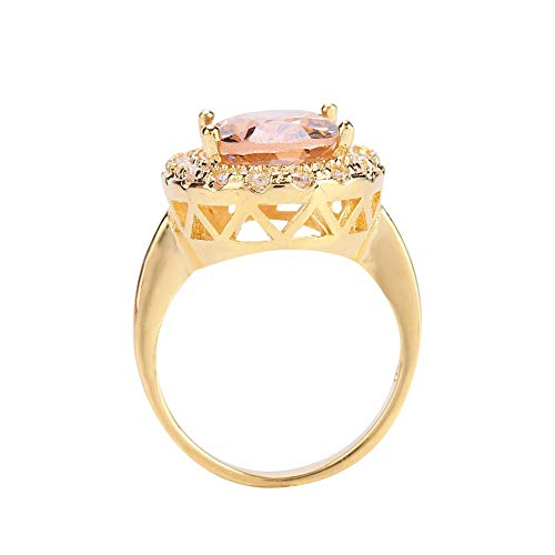 Anillo de compromiso para mujer, corte redondo simulado con piedras preciosas de princesa