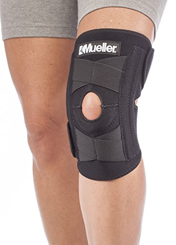 "Mueller Self-Adjusting Knee Stabilizer, Black, One Size Fits Most|Measure three inches above knee, fits 14"" - 20"""