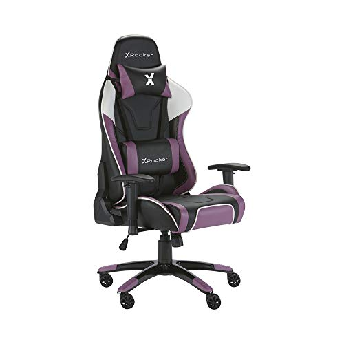 X-Rocker Agility Sport PC Gaming Chair with Comfort Adjustability, 3D Armrests, Neck and Lumbar Support Cushions, 360 Swivel, Seat Height, Back Tilt, Ergonomic Office Chairs, Faux Leather - PURPLE