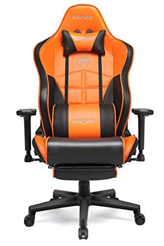 Kirogi Gaming-Stuhl, Gamer-Stuhl mit Fußstütze, Ergonomischer Computerstuhl, Verstellbarer PC-Gaming-Stuhl für Erwachsene, großer und hoher Bürostuhl aus Kohlefaser Leder. Orange