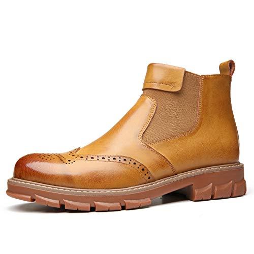 Gym Botas De Chelsea For Hombres Zapatos De Tubo Cortos Toe Redondo Tire De Cuero Genuino con Textura Banda Elástica En Relieve (Color : Brown, Size : 39EU)