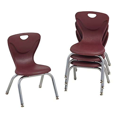 FDP 12' Contour School Stacking Student Chair, Ergonomic Molded Seat Shell with Powder Coated Silver Frame and Swivel Leg Glides; for in-Home Learning or Classroom - Burgundy (4-Pack)