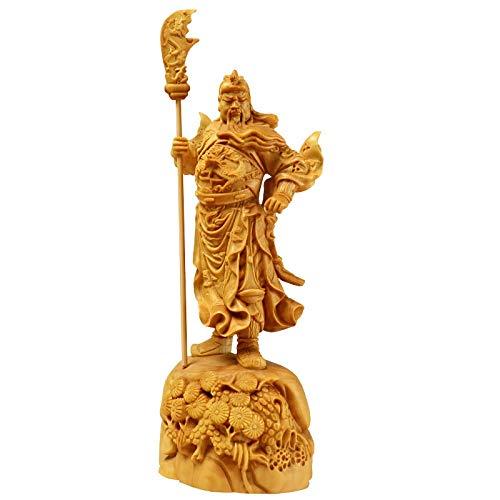 XIANGE100-SHOP Estatua 18cm Guan Gong Estatuillas de Madera Tallado a Mano Recoger Riqueza Dios Guan Yu Sculpture Regalo Estatua de Madera Decoración del hogar Regalos Chinos