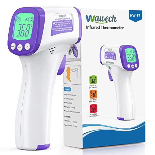 Wawech Termometro febbre infrarossi 2 in 1 Termometro frontale professionale a distanza 5-8CM Termometro digitale febbre Beeper per adulti neonati bambini