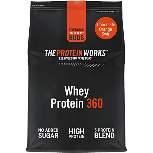 THE PROTEIN WORKS Whey Protein 360 Powder | High Protein Shake | No Added Sugar and Low Fat | Protein Blend | Choc Orange Swirl | 600 g