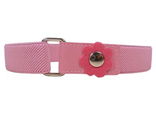 Cinturón Elástico para los Niñas 1-6 Años, Flor Clip Diseño. Rosa
