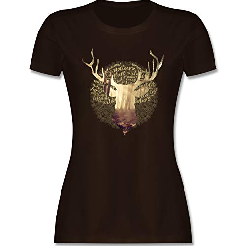 Oktoberfest & Wiesn Damen - Hirsch - M - Braun - Oktoberfest Damen - L191 - Tailliertes Tshirt für Damen und Frauen T-Shirt