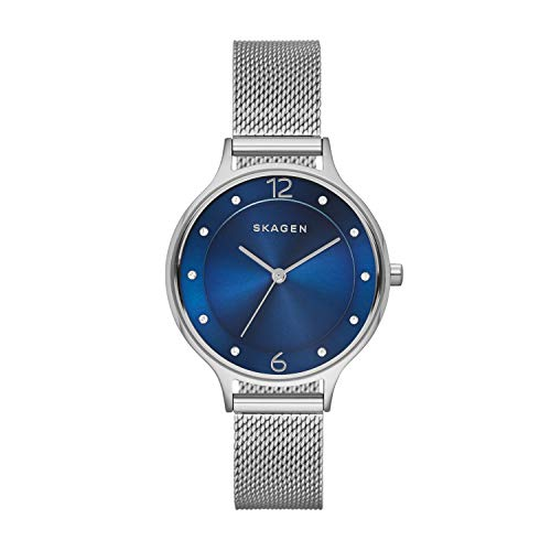 Skagen Women's Anita Quartz Stainless Steel Mesh Watch, Color:Silver-tone, 12 (Model: SKW2307)