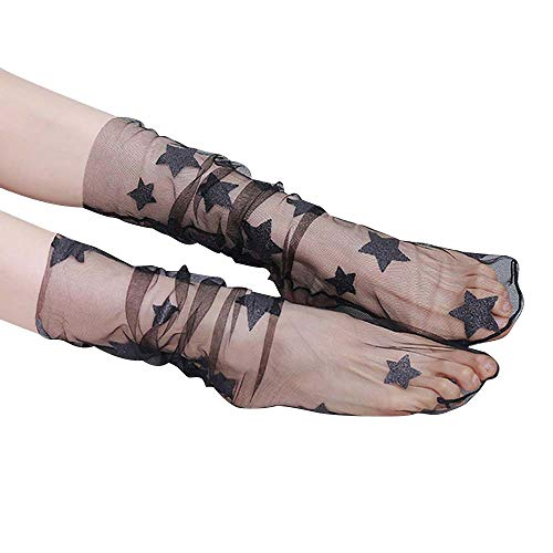 Women's See Through Mesh Loose Socks Glitter Stars Transparent Sheer Slouch Socks Teen Girls Ankle Hosiery (Black+Large Black Star) -  688
