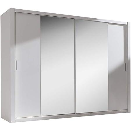 Selsey ORDU - Armoire Portes coulissantes (Blanc/Miroir, 200 cm)