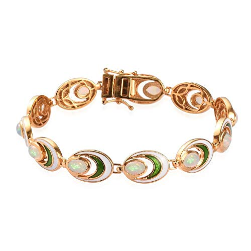 Ethiopian Welo Opal Bracelet (Size 7.5) in 14ct Gold Plated Sterling Silver wt. 16.00 Gms