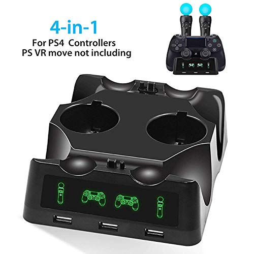 EEEkit 4 in 1 PS4 Controller Ladestation, PS4 Move Controller Ladegerät mit LED-Anzeige und drei USB-Buchsen, Quad-Ladegerät für PS4 / PS VR/Move Motion Controller