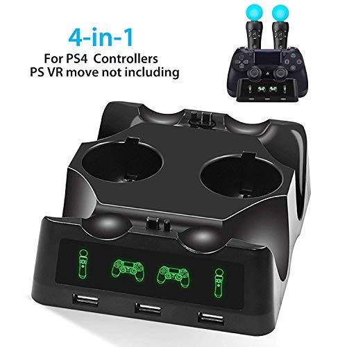 EEEKit 4 in 1 PS4 Controller Chargeur, Chargeur Quad pour PS4 Move Controller et VR, Station de Chargement Station de Chargement pour Accessoires Playstation 4