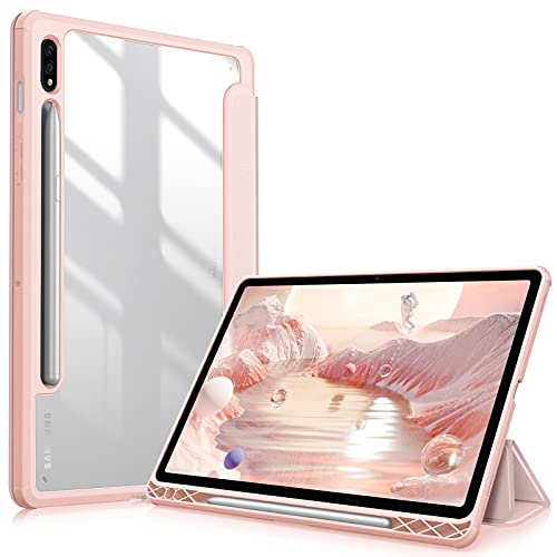 Fintie Hybrid Slim Case for Samsung Galaxy Tab S7 11 inch 2020 (Model SM-T870/T875/T878) with S Pen Holder, Shockproof Cover with Clear Transparent Back Shell, Auto Wake/Sleep, Rose Gold