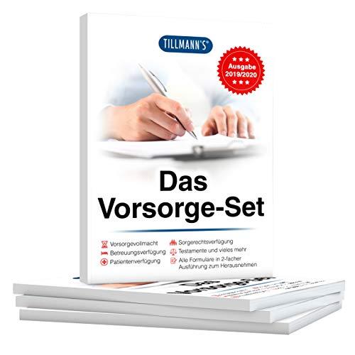 Das Vorsorge Set von Tillmann´s, mit Betreuungsverfügung, Sorgerechtsverfügung, Testamente, Vorsorgevollmacht und Patientenverfügung sowie weitere Formulare zum Herausnehmen, Ausgabe 2021