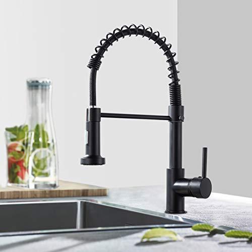 Spiralfeder Wasserhahn Küche, flexible Spülbrause, 360° schwenkbar Küchenarmatur, Einhebelmischer Spültischbatterie, Küchen Spültischarmatur (Schwarz)