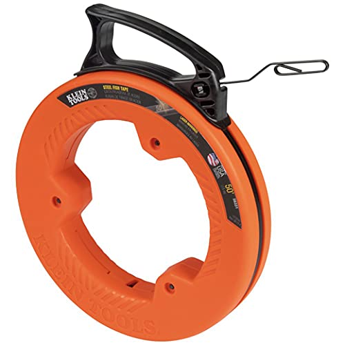 Klein Tools 56331 Fish Tape, Steel Wire Puller with Double Loop Tip, Optimized Housing and Handle, 1/8-Inch x 50-Foot