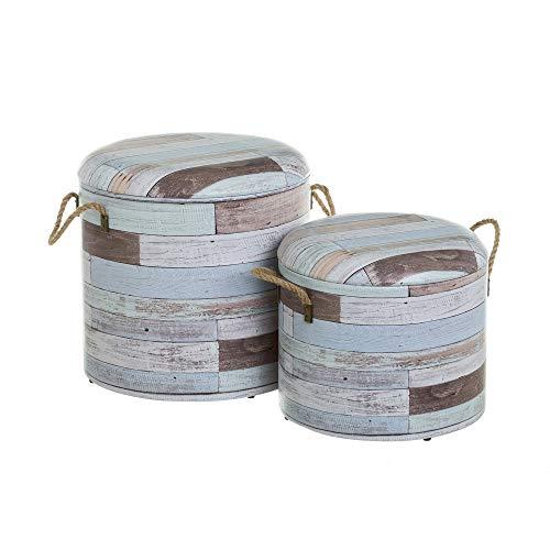 Conjunto de Puffs baúl Azules Shabby Chic de Madera tapizados - LOLAhome