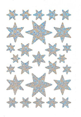 3917 sticker DECOR sterren 6-puntig, zilver/iriserende folie