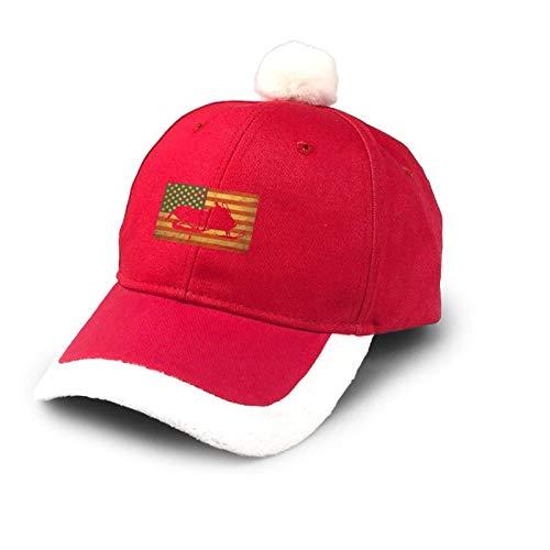 Sombrero de camionero de nieve Bandera de los Estados Unidos Vintage Sombrero de Navidad Sombrero de Bisbol de Algodn Sombrero de Pap Noel Sombrero Disfraz Rojo