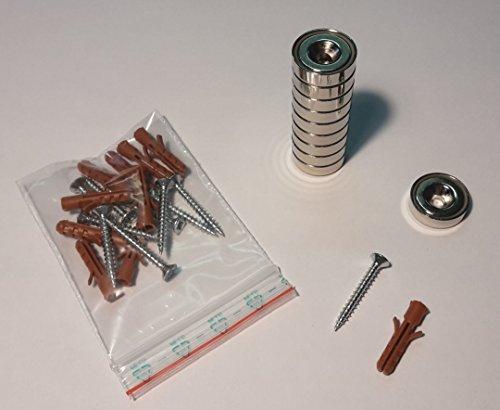 10 x Neodym-Ringmagnete/Senkmagnete/Topfmagnete, Durchmesser 20 mm, mit Senkung/Bohrung inkl. 10 Schrauben und Dübel