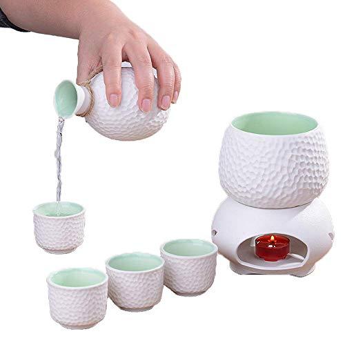 9-Teiliges Sake-Set, Sake-Servierset Aus Weißer Keramik Mit Wärmerem Topf Und Kerzenherd, Für Kalten/Warmen/Heißen Sake/Shochu/Tee, Familie Und Freunde