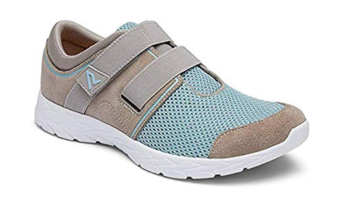 Vionic Women's Brisk Ema Slip On Leisure Sneakers- Supportive Walking Shoes That Include Three-Zone Comfort with Orthotic Insole Arch Support, Sneakers for Women Grey and Blue 5 Medium US