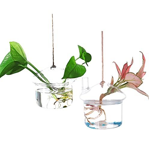 Ivolador 2PCS Mushroom-Shaped Hanging Glass Flower Plants Terrarium Container for Hydroponic Plants Home Garden Decor