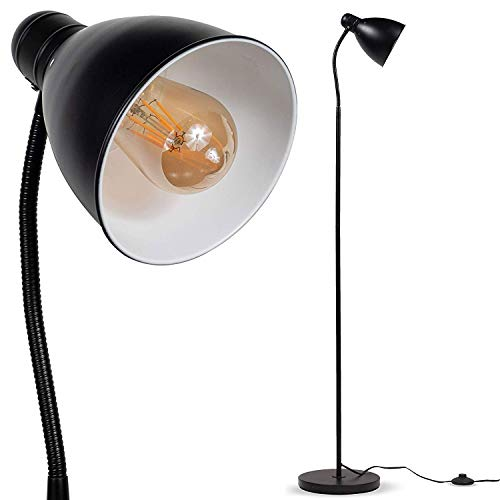 Wallniture Sol Set of 2 Adjustable Reading Floor Lamp with Foot Control On Off Switch Black