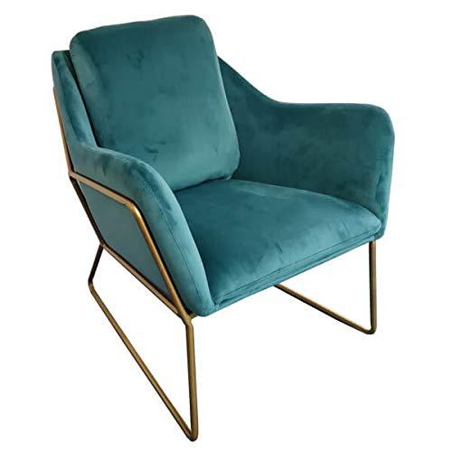 Mathi Design Golden stoel Cosy, fluweel, blauw en goudkleurig metaal