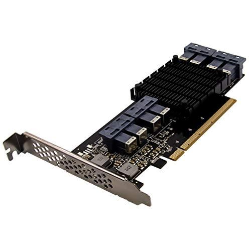 Fauge PCI-E 3.0 X16 PEX8749 U.2 SFF-8649 Tarjeta Adaptadora de Disco Duro SSD NVMe de Estado SóLido Adaptada para PC