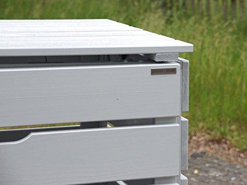 2er Mülltonnenbox / Mülltonnenverkleidung 120 L Holz, Deckend Geölt Lichtgrau - 3