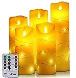 Candele LED senza fiamma, 5 candele LED con luce stellare e telecomando, timer 24 ore, fiamma danzante, cera vera, alimentazione a batteria (avorio)