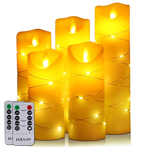 LED Candle, with Embedded Fairy String Lights,5-Piece LED Candle, with 10-Key Remote Control, 24-Hour Timer Function, Dancing Flame, Real Wax, Battery-Powered. (Ivory White)