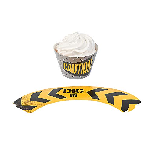Fun Express - Construction Zone Cupcake Collars (2dz) for Birthday - Party Supplies