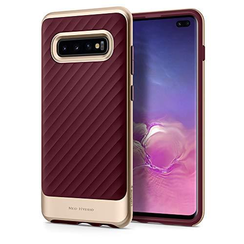 Spigen Compatible con Samsung Galaxy S10 PLUS/S10+ Funda Neo Hybrid con Protección Interna Flexible y Bordes Reforzado de Parachoques duraderos - Burgundy