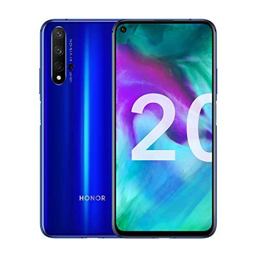 Honor 20 - Smartphone Débloqué 4G - (Ecran : 6,26 Pouces - 6Go RAM - 128Go ROM, Double Nano SIM, Android P) Bleu saphir+ Coque offerte [Version Française]
