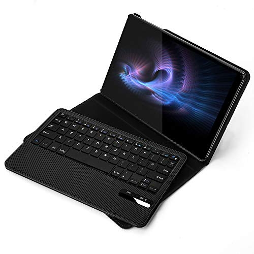 Keyboard Case for Galaxy Tab A 10.1 2019, Jelly Comb Removable Bluetooth Keyboard Quiet UK Layout QWERTY with Slim Protective Case for Samsung Galaxy TAB A T510/T515 2019, Black