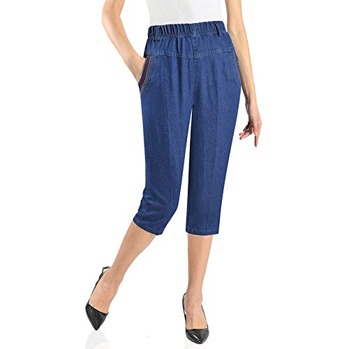Marca Blanca Primavera y Verano Sección Delgada Cintura Alta Elástica Cintura Elástica Recta Cropped Jeans L/XL / 2XL / 3XL / 4XL / 5XL Azul azul oscuro XXL